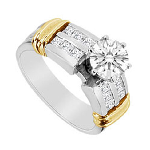 buy cubic zirconia engagement ring in 14k two tone white