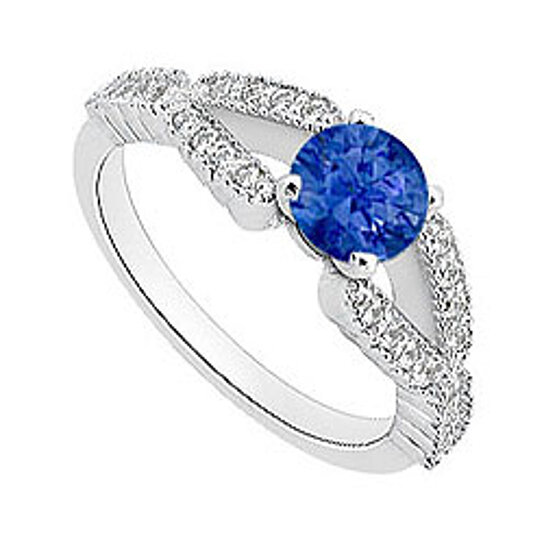 Buy Diamond and Natural Blue Sapphire Engagement Ring in 14K White Gold 1 Car