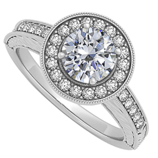 Buy Diamond Halo engagement Ring in 14K White Gold 0 50 CT TDW Amazing Design