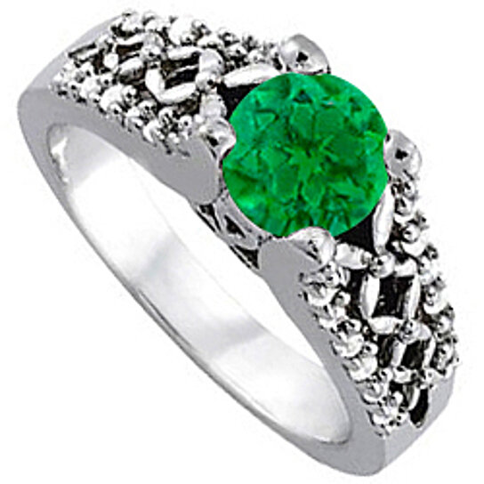 Buy Emerald and Cubic Zirconia Ring in 14K White Gold Wonderful Design Reason