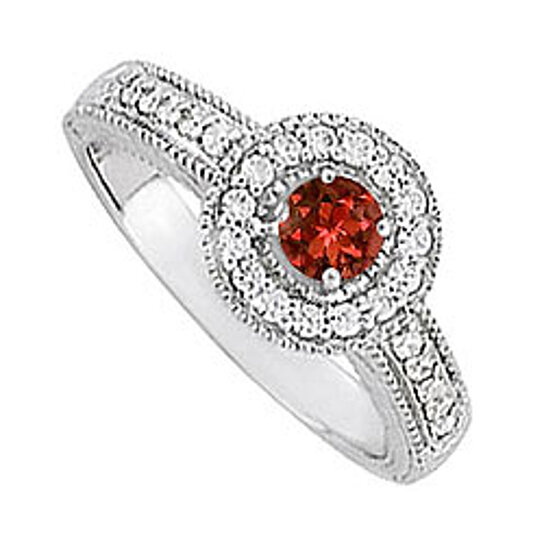 buy garnet and cz halo engagement ring in sterling silver