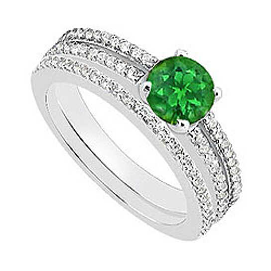 Buy Green Emerald And Diamond Engagement Ring With Wedding Rings In 14K White Gold 115 Carat