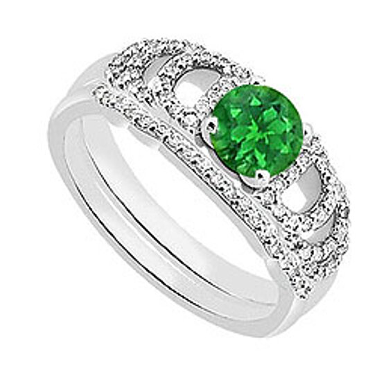 Buy Green Emerald And Diamond Engagement Rings With Wedding Ring Sets 110 Carat TGW By