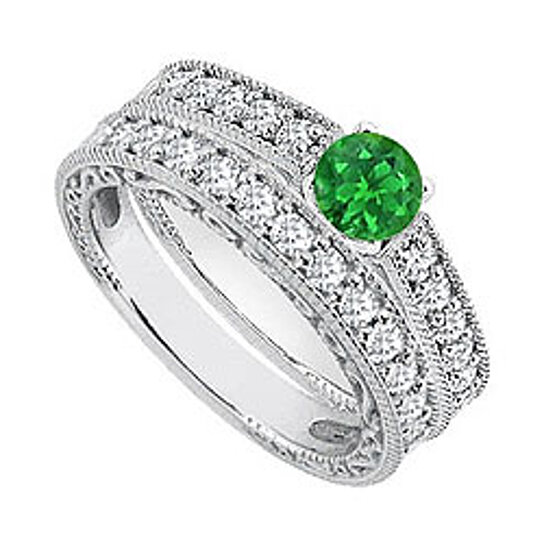 Buy Green Emerald And Diamond Engagement Rings With Wedding Ring Sets 140 Carat TGW By