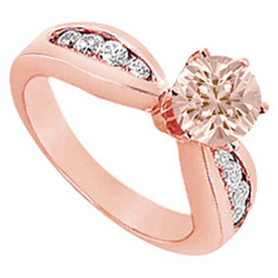 Buy Prong Set Morganite with Channel Set Diamonds on 14K Rose Gold Engagement