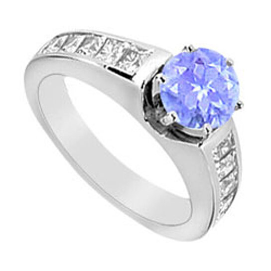 Buy Prong Set Tanzanite Engagement Ring CZ Channel Set in ...