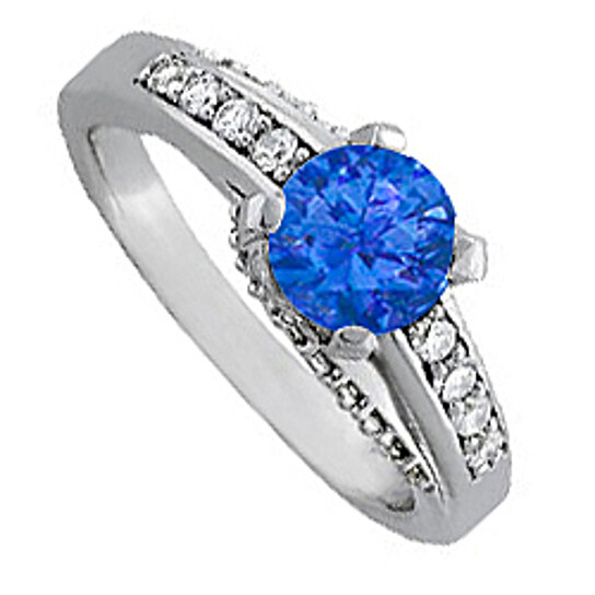 Buy Sapphire and Cubic Zirconia Ring in 14K White Gold Trendy Design Reasonab