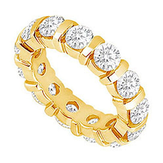 Buy two carat diamond eternity band in 14k yellow gold for 10th wedding anniversary jewellery