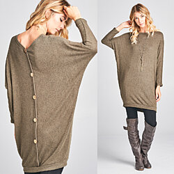 Buttoned Back Hacci Tunic