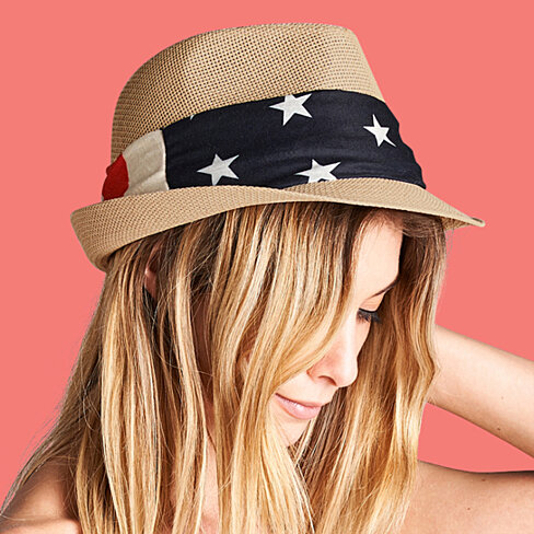 Woven Fedora with Vintage American Flag Band