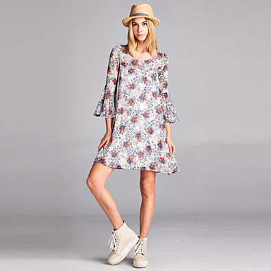 Floral Bell Sleeve Chiffon Dress