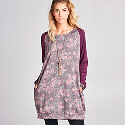 Floral French Terry Sweatshirt Dress with Pockets