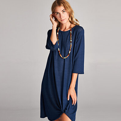 Stretch Jersey Gathered Shift Dress in 3 Colors