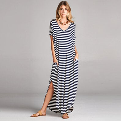 Classic Stripe Maxi Dress in 4 Colors