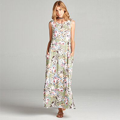 Sleeveless Floral Maxi Dress with Pockets