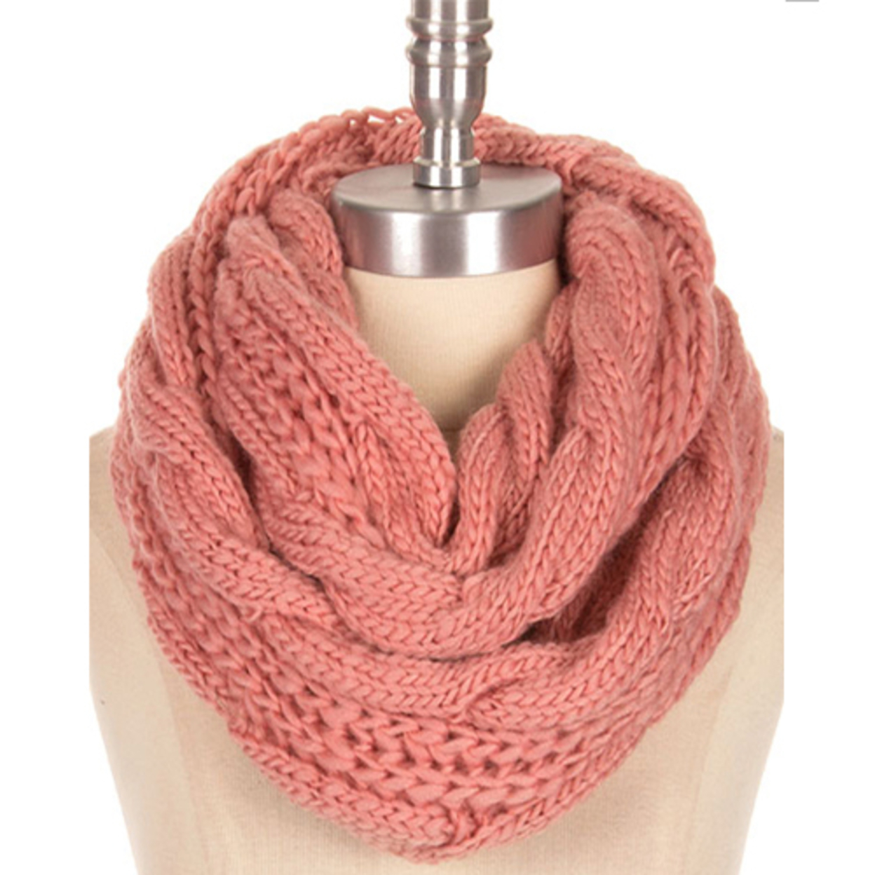 Awareness Infinity Scarves Pink Cable Knit