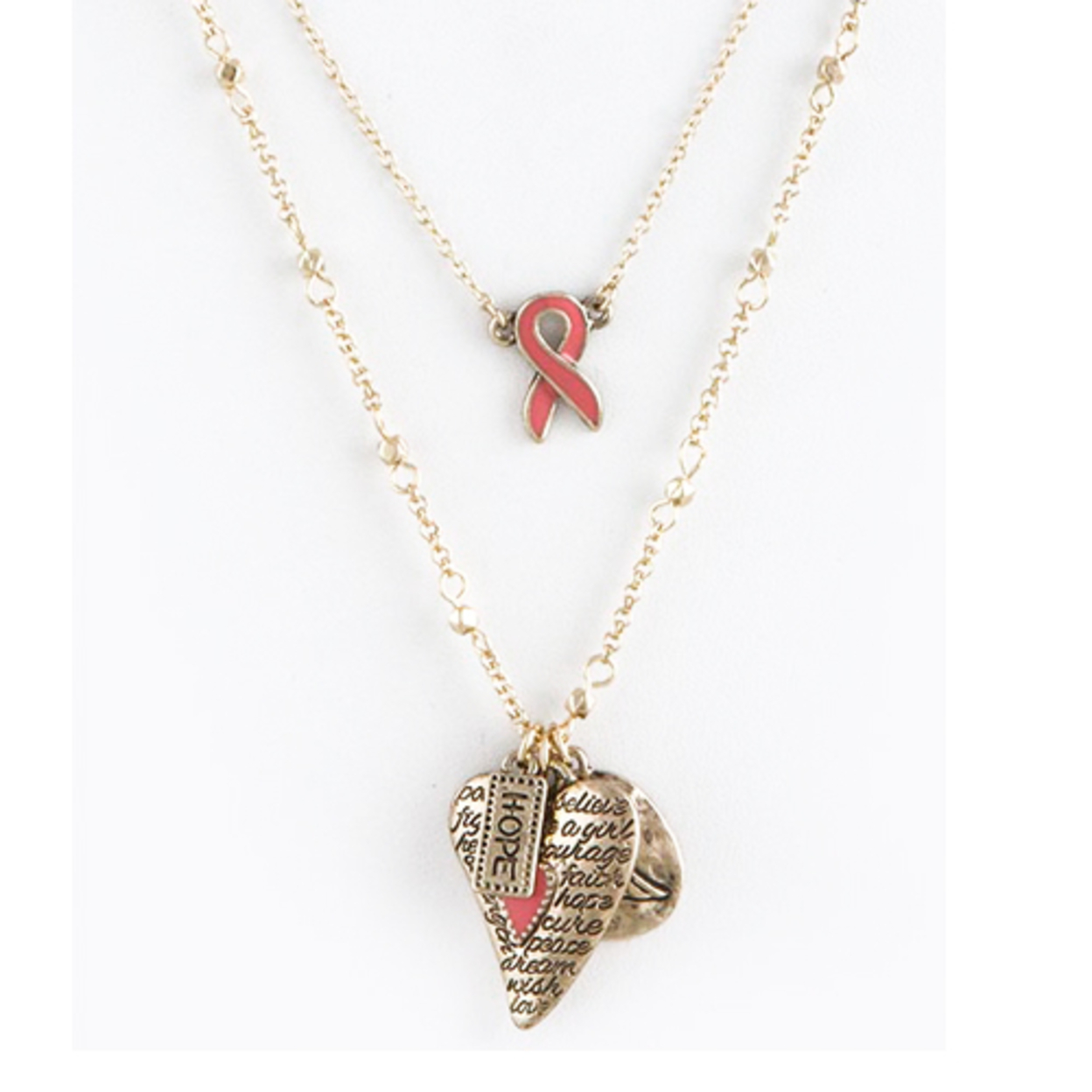 Breast Cancer Awareness Necklaces Collection - Etched Heart Layered Necklace in Gold 55fc8ea94d3d6f1c038b4acd