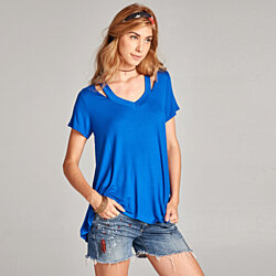 Relaxed Fit Cutout Tee
