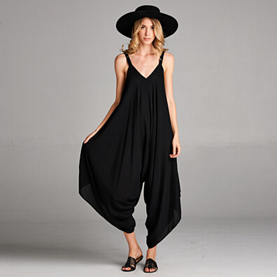 V-Neck Jumpsuit with Pockets