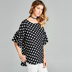 Polka Dot Relaxed Fit Bell Sleeve Top