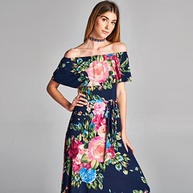 Rose Bouquet Cold Shoulder Maxi Dress