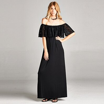 Ruche Lace Off-Shoulder Maxi Dress