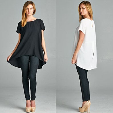 Short Sleeves, Loose Fit Hi-Low Drapey Top