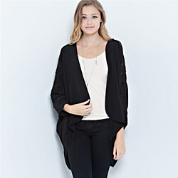 Lace Shoulder Woven Cardigan