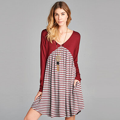 Striped Colorblock Swing Dress