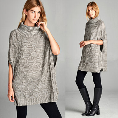Turtleneck Trellis Cape Sweater