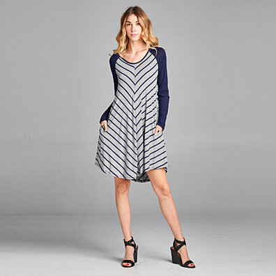V-Striped Swing Dress