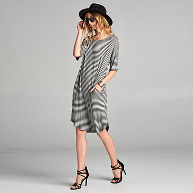 Relaxed Fit Striped Dress