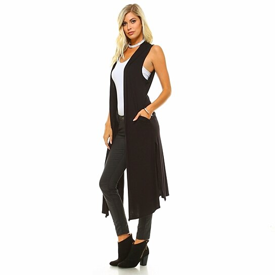 Buy Isaac Liev Womens Extra Long Cardigan Vest With Pockets And