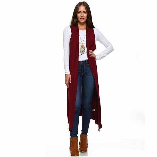 Buy Isaac Liev Women's Extra Long Sleeveless Cardigan Duster Vest ...