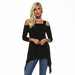 Isaac Liev Women's Wide-Strap Cold Shoulder Sharkbite Tunic
