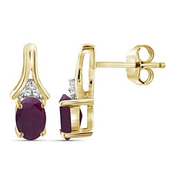 Jewelonfire 0.96 CTW Ruby Gemstone & Accent White Diamond Drop Earring in Gold Over Silver