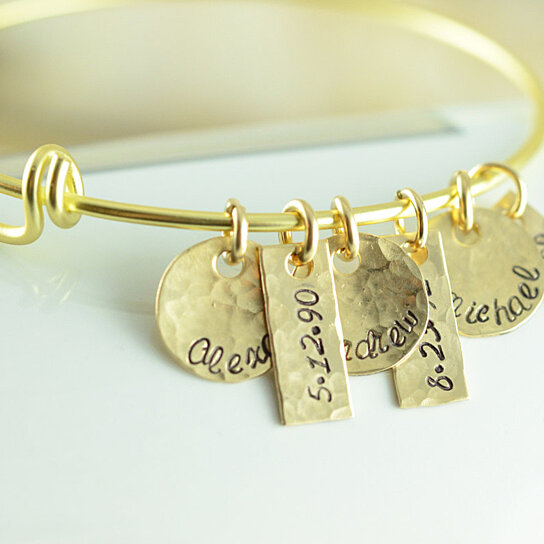 Personalized Gold Name Charm Bangle Bracelet Alex And Ani Style By Lucky Horn Jewelry On Opensky
