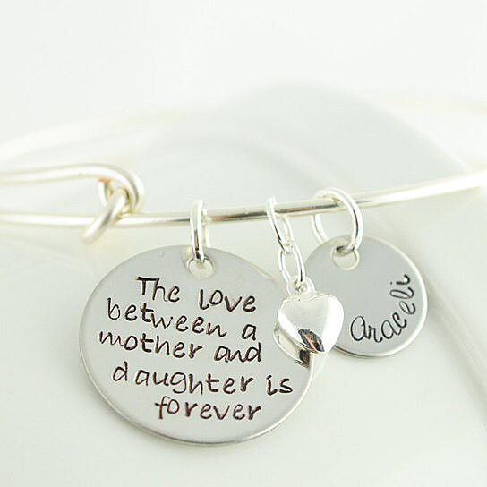 Personalized Bangle Bracelet The Love Between And Mother Daughter Alex Ani Inspired By Lucky Horn Jewelry On Opensky