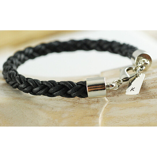 buy personalized mens black leather initial bracelet