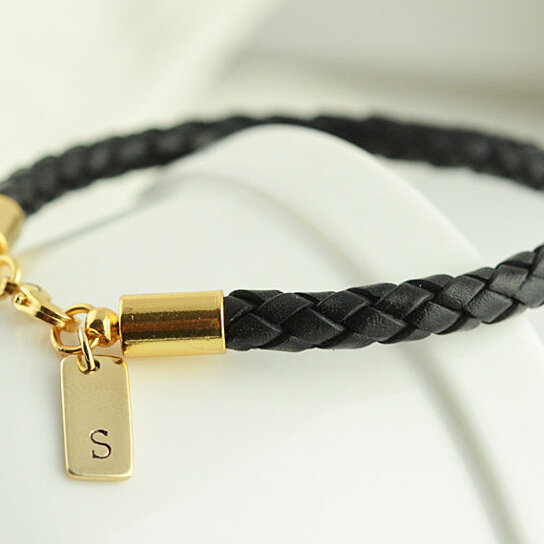 Personalized Mens Gold And Leather Bracelet Gift For Him Black Fathers Day Custom Initial By Lucky Horn Jewelry On