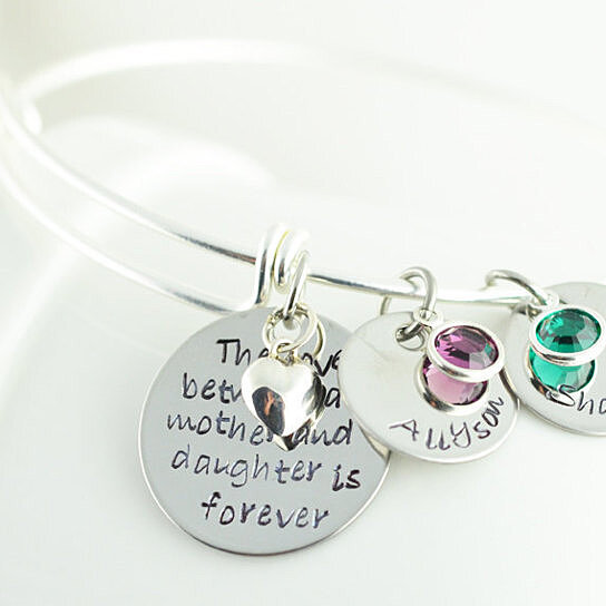 Mother Daughter Personalized Bangle Bracelet Alex And Ani Style By Lucky Horn Jewelry On Opensky