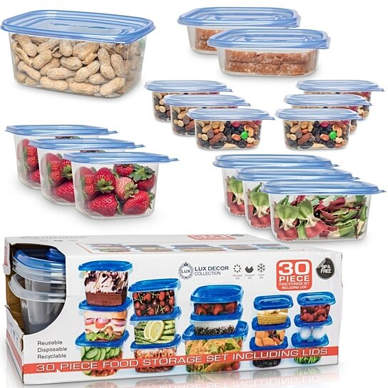 30 Pcs Food Containers With Blue Lids