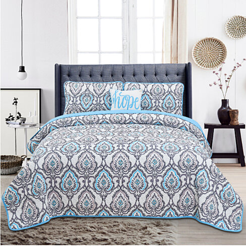 4-Piece Quilt Set- Reversible- King -Queen