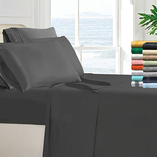 """Ample Decor Satin Collection 4 Piece Bed Sheet Set 16/"""" Deep Pocket Bed Sheets"""
