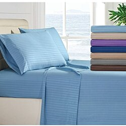 Egyptian High Quality Striped Bed Sheet Set 1800 Series 4 Piece Deep Pocket All Sizes Available