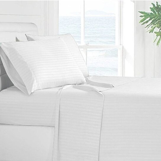 Buy Lux Decor Egyptian High Quaility Bed Sheet Set 1800 Series 4 Piece Deep  Pocket Striped Bed Sheet Set All Sizes Available By Lux Decor Collection On  ...
