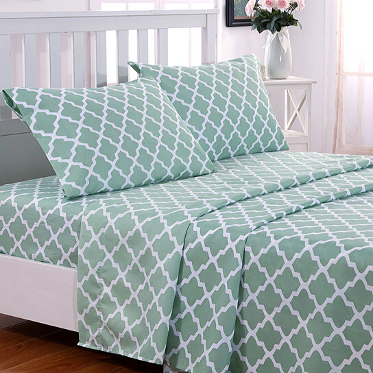 Trending Product This Item Has Been Added To Cart 25 Times In The Last 24 Hours Egyptian Luxury 1800 Thread Count Quatrefoil Pattern 4 Piece Bed Sheets