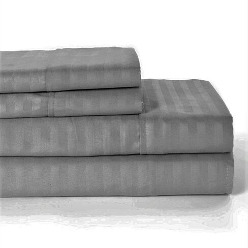 1800 Series Egyptian Quality Striped Bed Sheet Set + Pillow Case