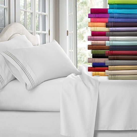 Twin//Queen//King Bed Sheet Set Soft Microfiber 4 Piece Deep Pocket Flat Fitted