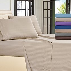 Lux Decor Stripe Bed Sheet Set - Wrinkle, Fade, Stain Resistant - Hypoallergenic - 4 Piece